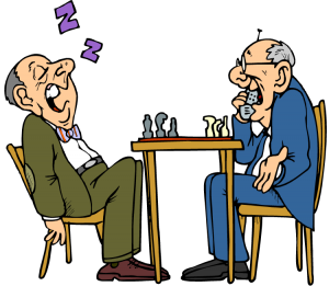 cartoon - two old men play chess