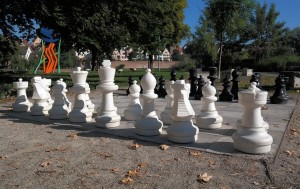 huge chess set in a park